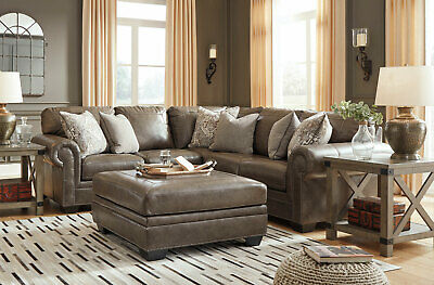 New Traditional Sectional Living Room Taupe Brown Leather