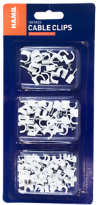 Cable Clip Set - 100 Pack Plastic Cable Clips in Sizes 6mm, 8mm & 10mm Wire Tidy