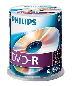 Philips-DVD-R-120-Minutos-4-7GB-16x-Velocidad-Grabable-Discos-En-Blanco-100