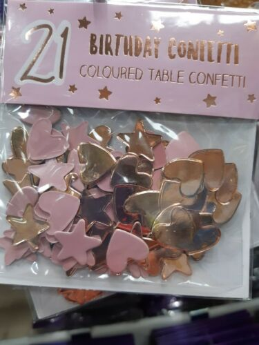 21st Rose Gold Coloured table confetti.