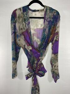 ETRO Womens Sz 48 Sash Tie Wrap Blouse Floral Print Semi Sheer 100% Silk EUC