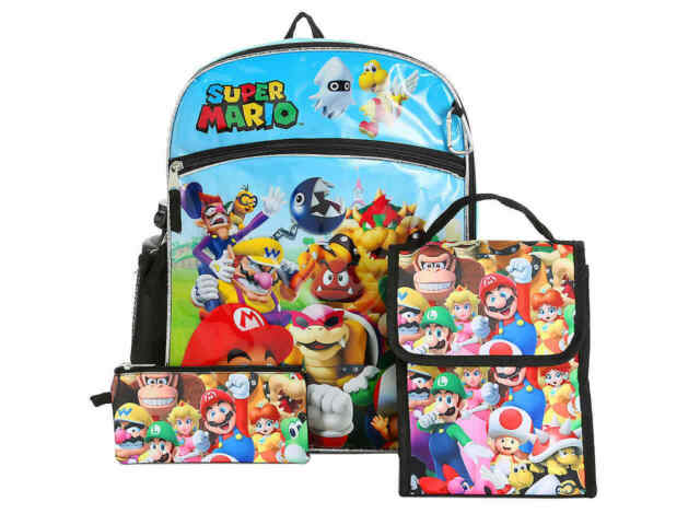 Super Mario Bros SchoolBag Backpack Bookbag Lunchbag Totes Set Pen case 3PCS Set