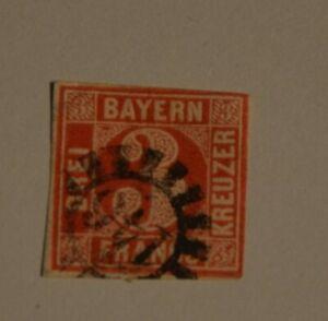 Bayern-3-Kreuzer-rot-Mi-Nr-9-oben-leicht-beruehrt-gMR-146-Fuessen