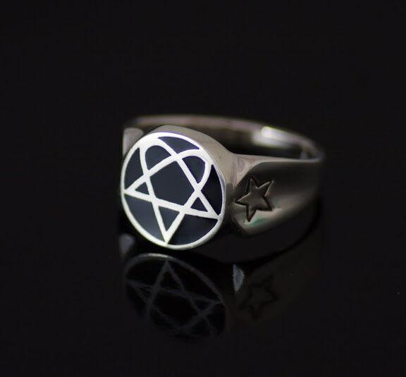 Rune Pentagram Mens Ring solid Sterling Silver 5 five Star Black Gothic  SZ 13.5