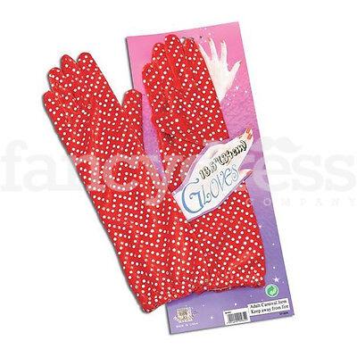 Red Sequin Gloves Fancy Dress Accessory Stage Jazz Dance Clown Devil 34cm NEW
