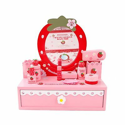 Make Up Set Strawberry Toy Dressing Table & Mirror Pretend Play Wooden Toys