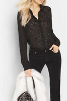 Michael Kors Button Up Sparkling Embellishment Chiffon Blouse Black