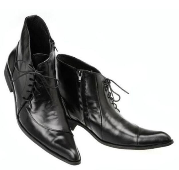 acquistare ora Uomo Uomo Uomo Leather Pointed Toe Low Heel Formal Lace Up Side Zip Business Dress scarpe  fino al 60% di sconto