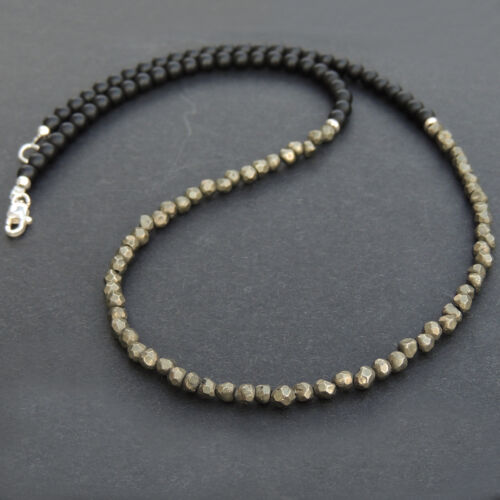 Homme Femmes Noir Mat Onyx Pyrite argent sterling collier bricolage-Karen 047