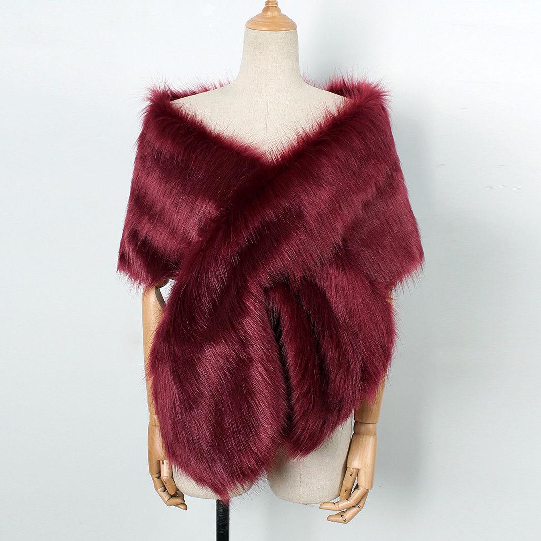 Faux Fur Warm Shawl Shrug Wedding Wrap Cape, Evening Winter Coat, Burgundy