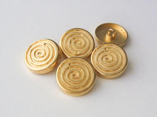 5 große goldfarbene Metall Ösen Knöpfe mit großer Spirale 5644go