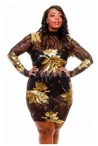 Plus Size Sheer Mesh Fall Shimmer Gold Leaves Sequin Mini Black ...