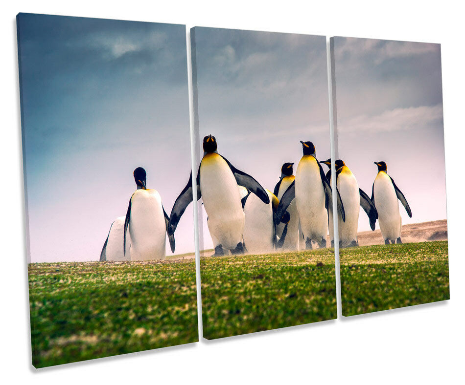 Happy Penguins Picture TREBLE CANVAS WALL ART Print