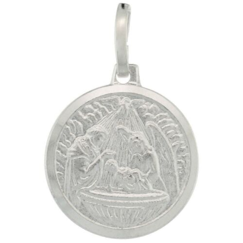 .925 Sterling Silver Baby Jesus /& Guardian Angel Round Medal Charm Pendant