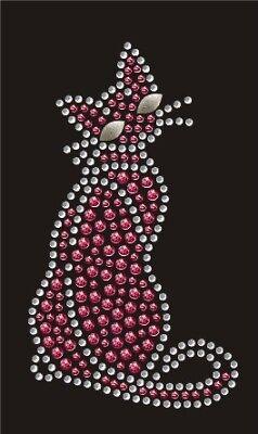 Hotfix Bügelbild  süßes Strass Kätzchen Katze Pink 130809 Karostonebox