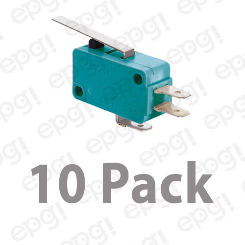 10 PACK NORMAL OPEN//NORMAL CLOSED FLAT LEVER MICROSWITCH 10A-125V #MSW02G-10PK