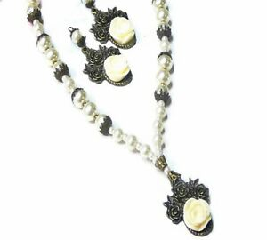 Necklace-Earring-set-vintage-style-white-pearl-antique-rose-clip-on-or-pierced
