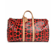 Louis Vuitton Monogram Canvas Red Pumpkin Kusama Dots Keepall 55 Bandouliere Bag