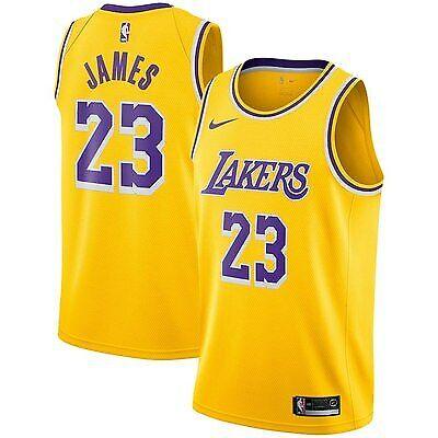LA Lakers LeBron James #23 NBA Basketball Jersey White Yellow Swingman SizeS-XXL