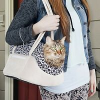 Paw Cozy Cat Dog Travel Soft Sided Pet Carrier Purse Totes, Tan/leopard on sale