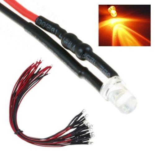 S991-10 pièces DEL 3 mm orange clair avec câble//Toron DEL pour 12-16 v