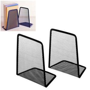 1-Pair-Metal-Mesh-Black-Desk-Organizer-Desktop-Office-Home-Book-Holder-Bookends