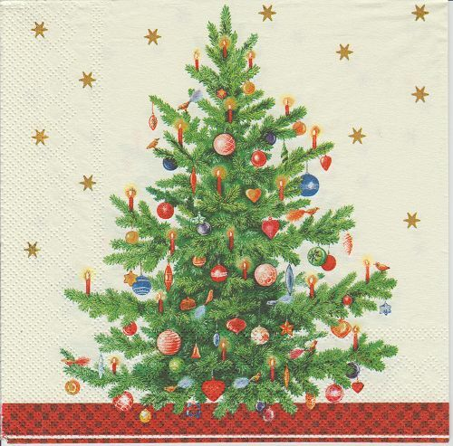 IHR Christmas Trimmed Tree Cream 4 Single Napkins Decoupage