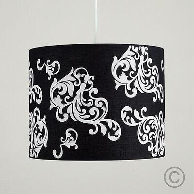 Modern Easy Fit Black & White Damask Ceiling Light Pendant Drum Lamp Shade Home