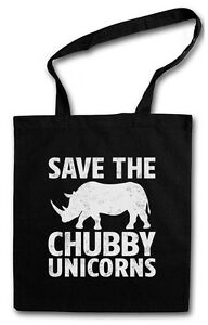 SAVE THE CHUBBY UNICORNS EINKAUFSTASCHE Nashorn Einhorn Rhino Rainbow Colors