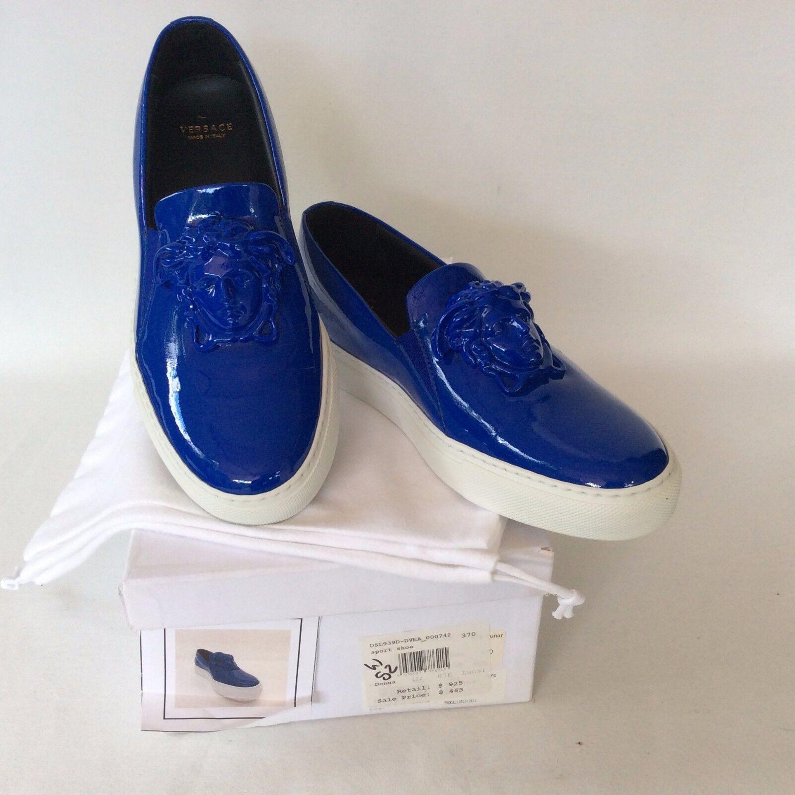 VERSACE Palazzo Medusa Slip On Sneakers Patent Leather bluee Size 37 US 7.5 NIB