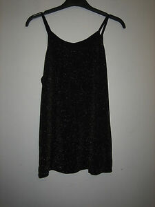WOMENS-ATMOSPHERE-BLACK-AND-GOLD-FLECK-TOP-SLEEVELESS-SIZE-8