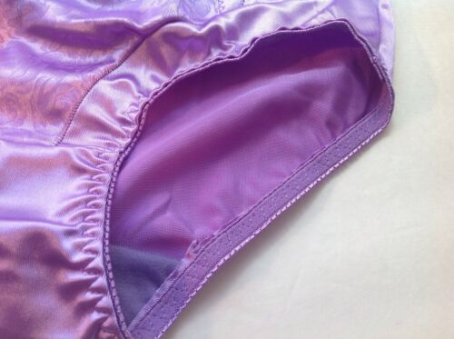 Women Briefs,Control Panties Ann Diane Size 3XL Violet Satin W//2 Side Pockets
