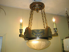 1920s Brass 5 light pan fixture , hanging Light