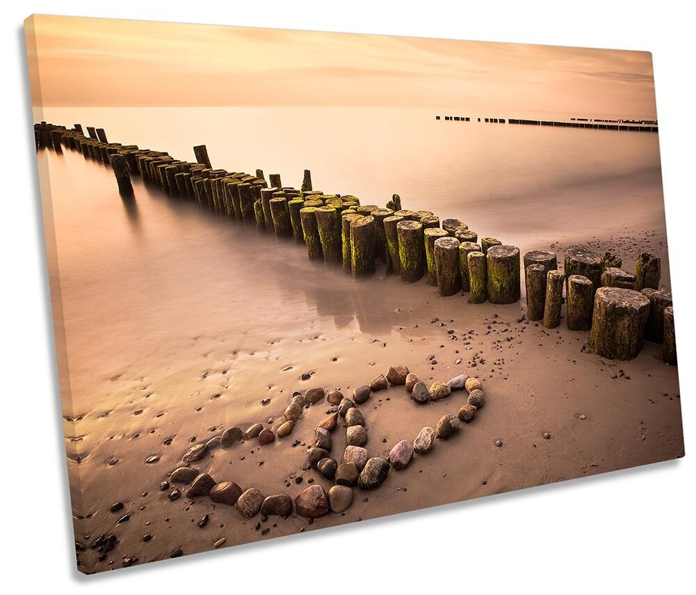Sunset Beach HeKunsts Bild SINGLE CANVAS Wand Kunst Drucken