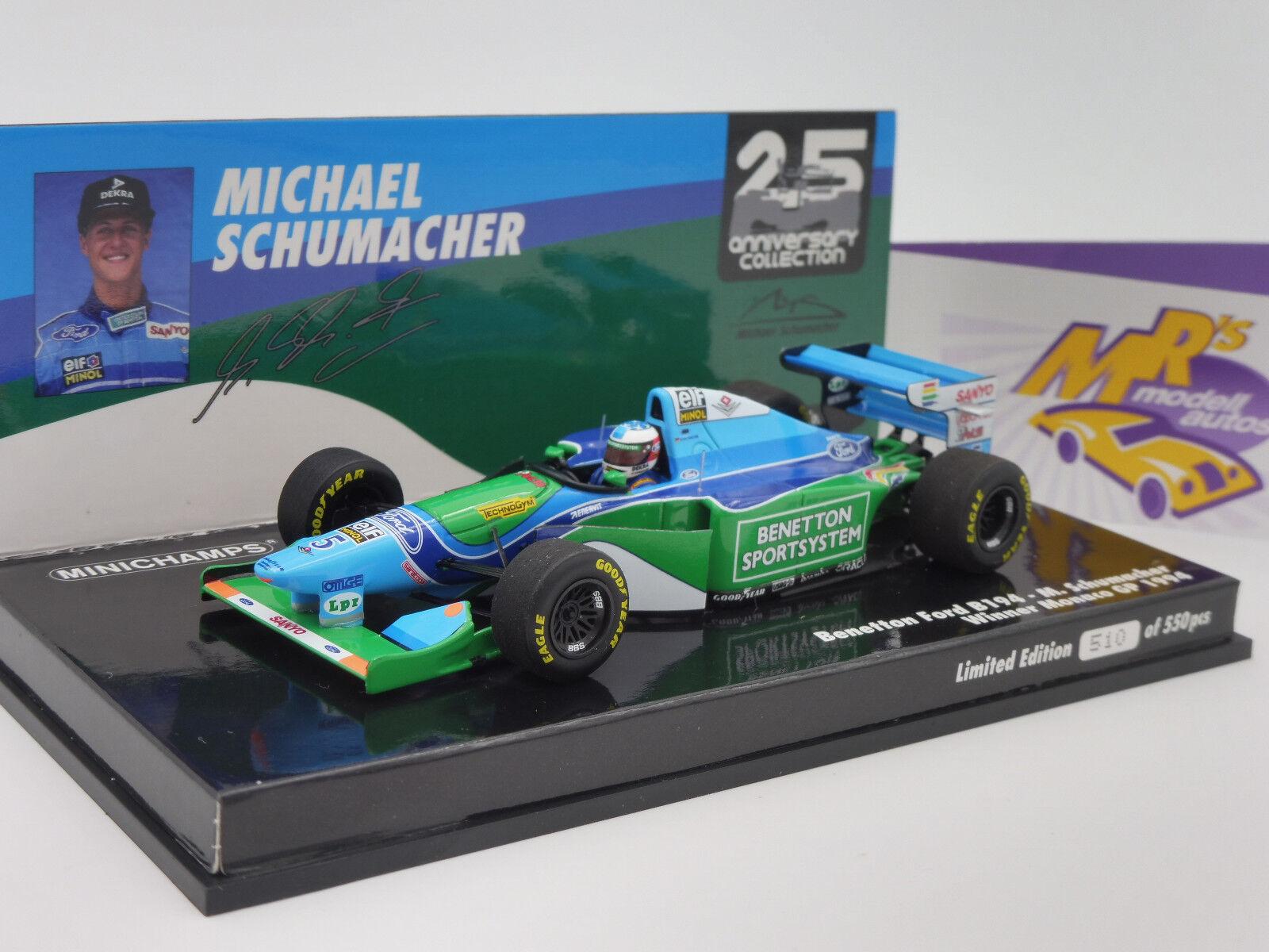 MINICHAMPS 517940405   benetton b194 Monaco GP 1994 Michael Schumacher 1 43 NEUF