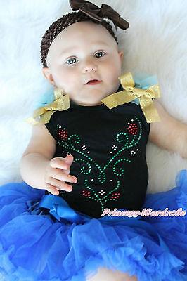 Newborn Royal Blue Baby Girl Pettiskirt Black Top Rhinestone Princess Anna 3-12M