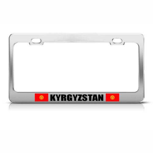 KYRGYZSTAN COUNTRY FLAG CHROME HEAVY DUTY STEEL License Plate Frame Tag Border