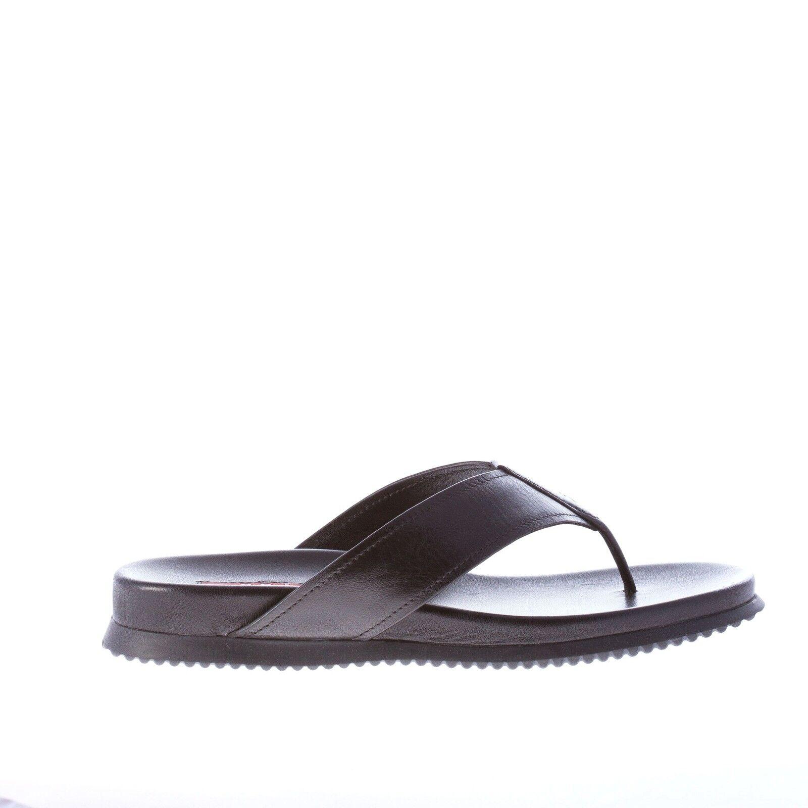 Prada Zapatos señora mujer zapatos negro Leather Thong slide Sandal