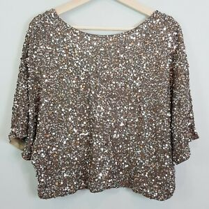 VINCE-Womens-Cluster-Sequin-Raglan-Cropped-Top-NEW-Size-M-or-AU-12-US-8