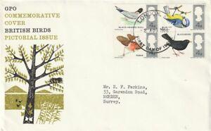 8-AUGUST-1966-BRITISH-WILD-BIRDS-NON-PHOS-FIRST-DAY-COVER-LONDON-EC-FDI-CANCEL