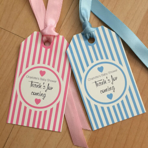 24 Vintage//retro Personalised Baby Shower tags Stripped