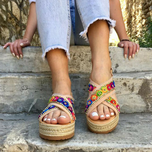 Womens Multicoloured Sandals Espadrille Ankle Strappy Peep Toe Summer Soft Shoes