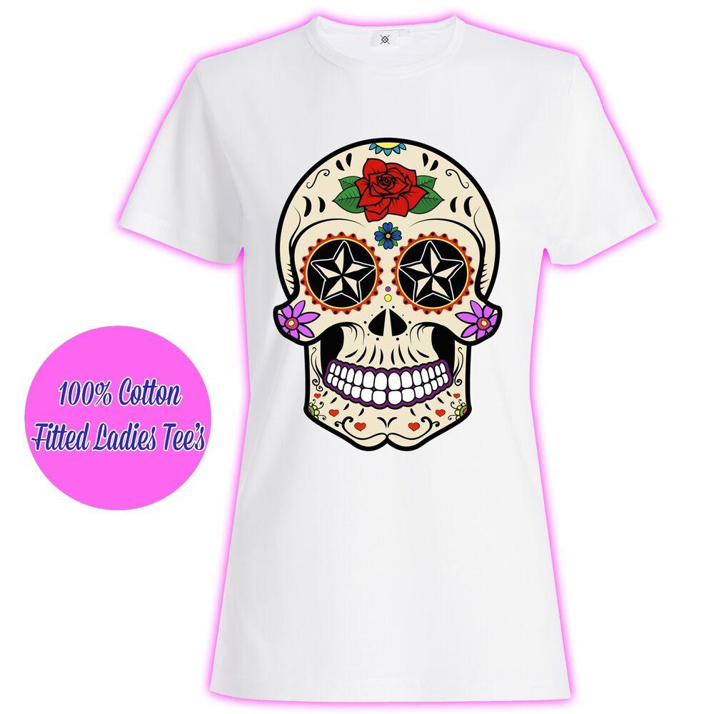 Walking Dead Inspiré Womans Filles Femmes Cadeau Zombie Crâne T Shirt