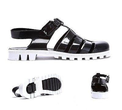 Womens JuJu Jellies Maxi T-Bar 2Tone Black/White Sandals RRP £25.99
