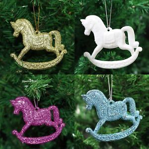 Christmas Horse Decorations.Details About Pack Of 3 Glitter Rocking Horse Christmas Tree Hanging Pendant Decorations