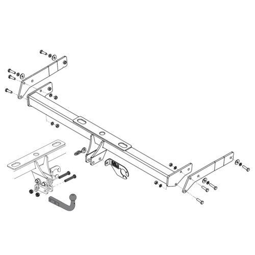 Swan Neck Tow Bar 7N Towbar for Volkswagen Sharan 2013-2020