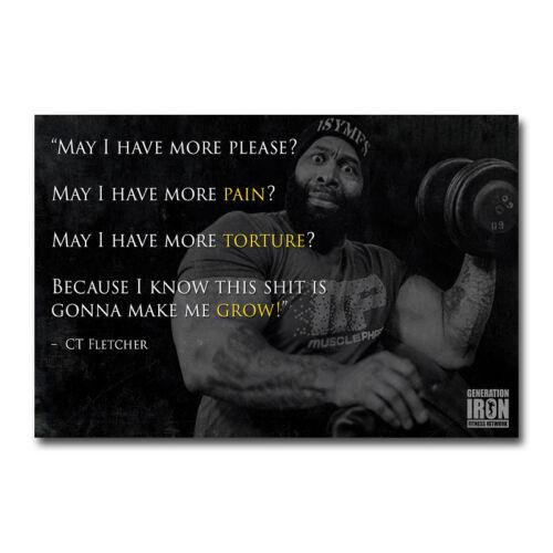 CT FLETCHER Bodybuilding Motivational Art Silk Canvas Poster 12x18 24x36 inch