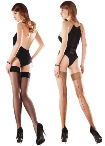 Sheer Stockings Women/'s Sensual Plain Top Seamed Hold Ups Gabriella Capri