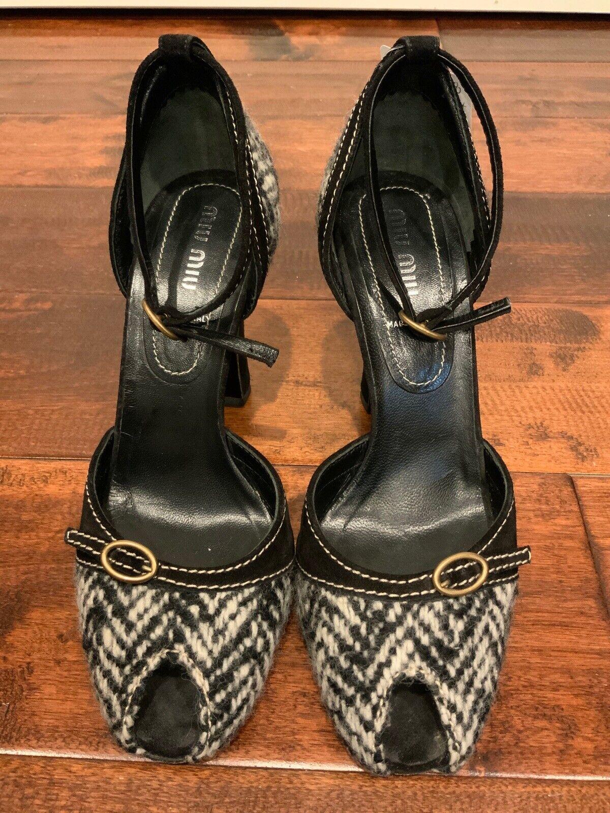 Miu Miu Black & White Tweed Peep Toe Heels, Size 36.5 (IT) 6.5 (US)
