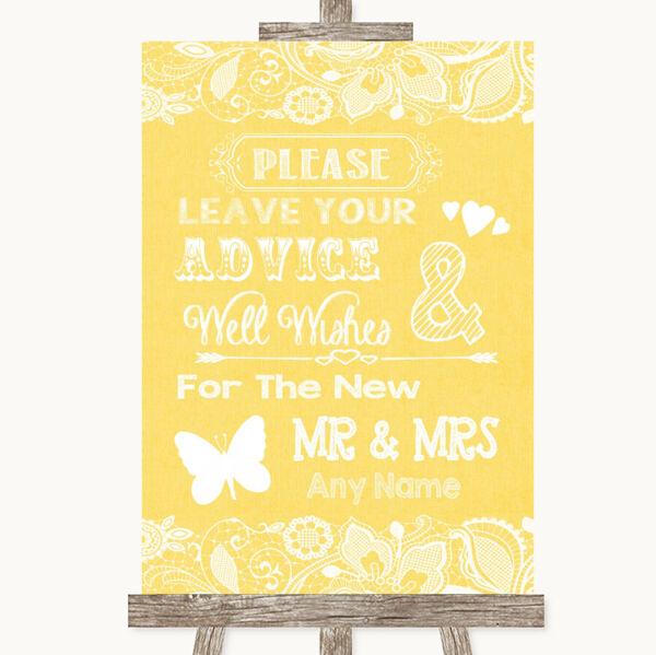 Personalizadas boda signo /& sra Lila /& Lace Libro De Visitas Arpillera asesoramiento y deseos Sr